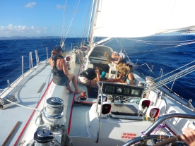 exxpedition crewed working on deck; plastics