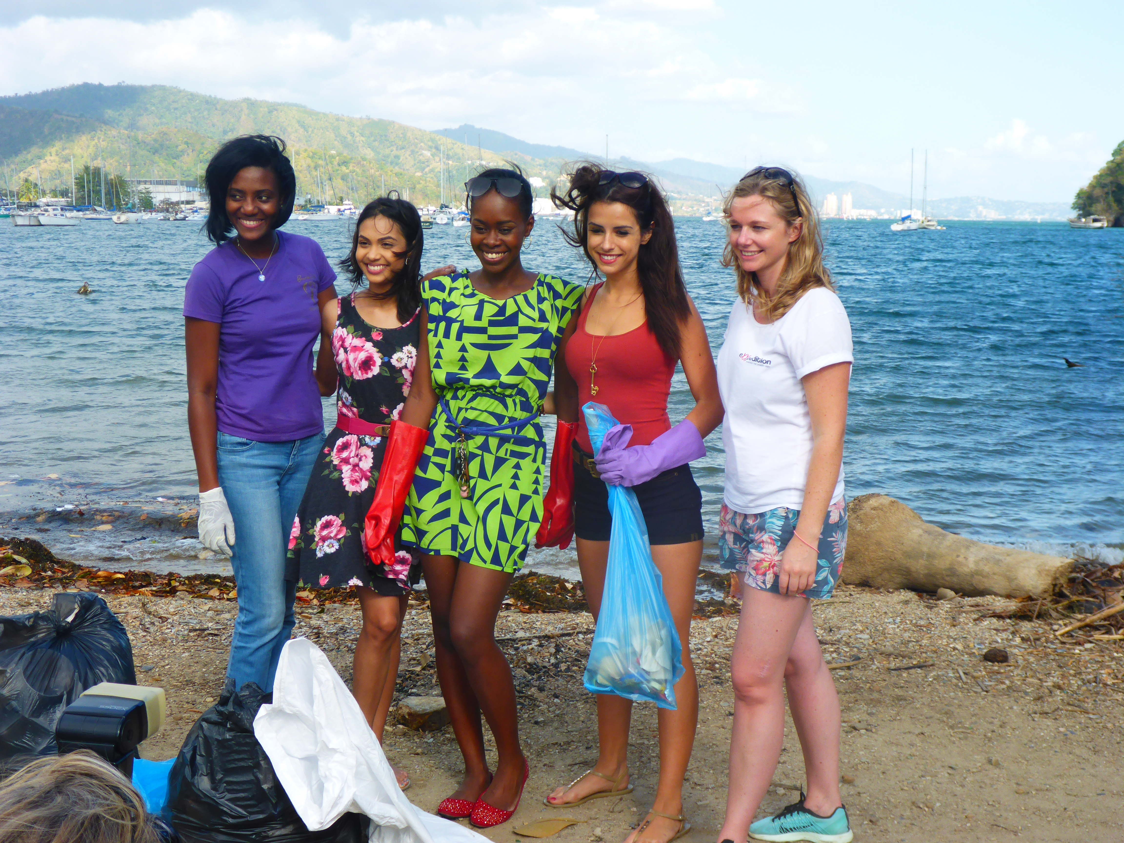 Emily and our Trinidad beach clean up crew. Trinidad environental activism