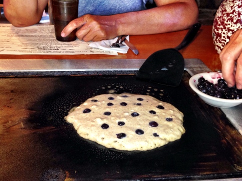 bubbling pancake with blueberries