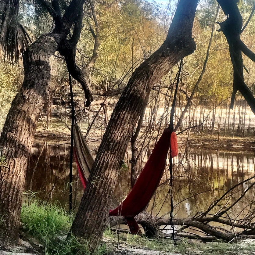 Just enough space for a hammock
