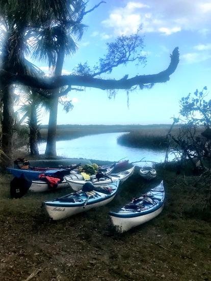 Landing with kayaks