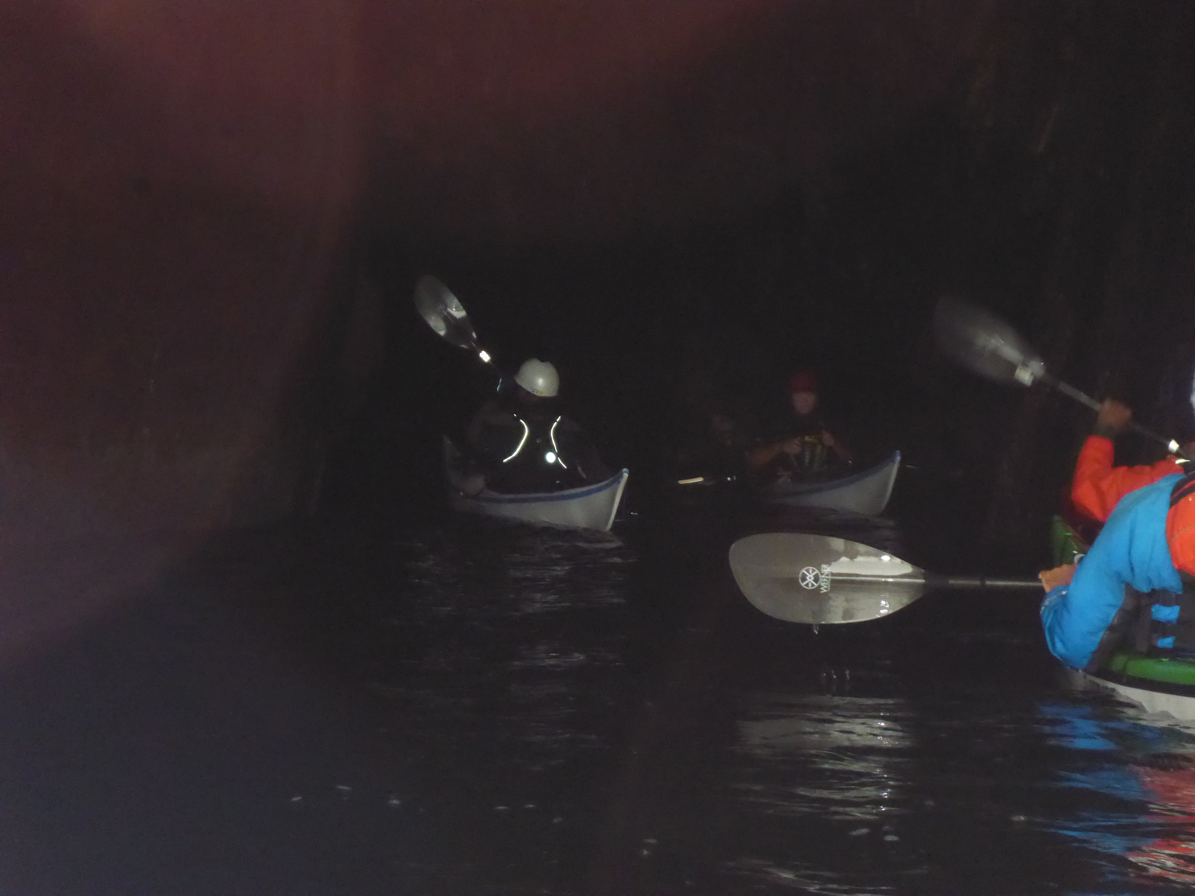 Headlamps needed in cave