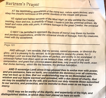 Bartram Prayer